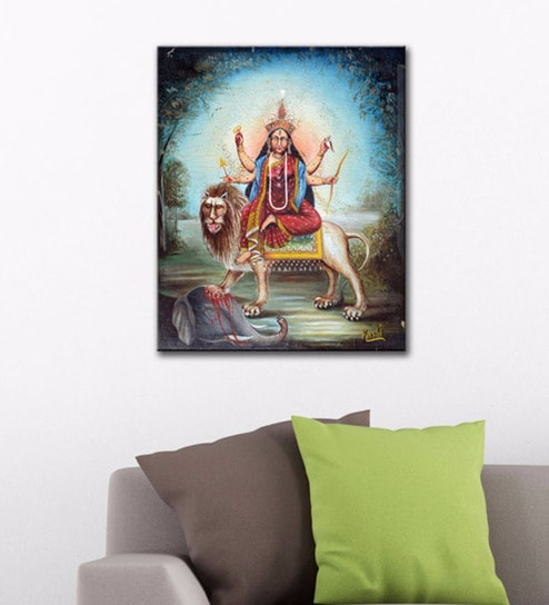 Canvas 20 x 24 inch maa durga painting gallery wrap stretched art print by tallenge