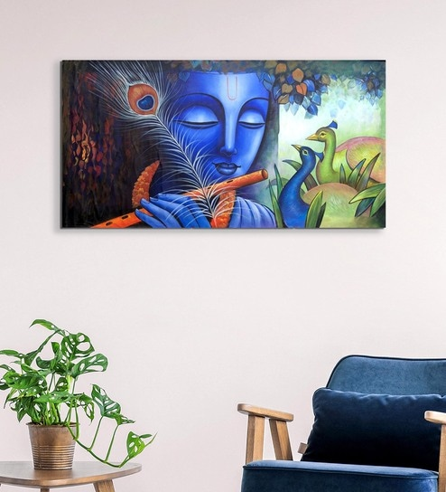 Canvas 40 X 0 2 X 18 Inch Krishna With Peacock Unframed Handpainted Art Painting By Fizdi Art Store
