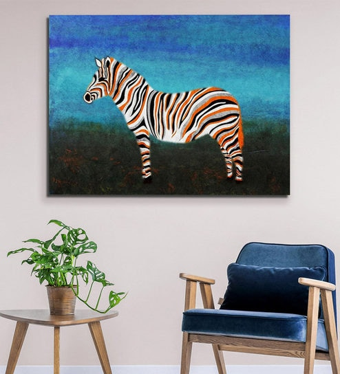 Awesome Canvas 40 X 0 2 X 30 Inch Zebra With Orange Strips Unframed Handpainted Art Painting By Fizdi Art Store Pdpeps Interior Chair Design Pdpepsorg