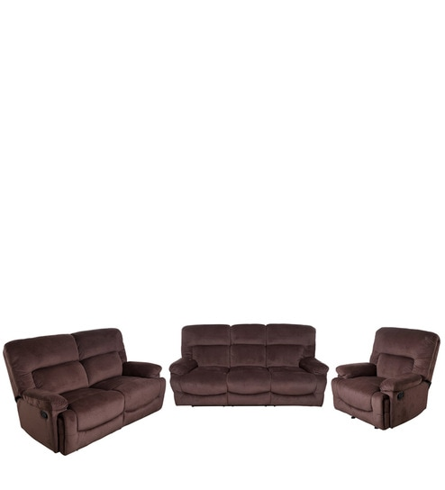 Cardiff Recliner Sofa Set 3 2 1 Seater In Chocolate Colour By