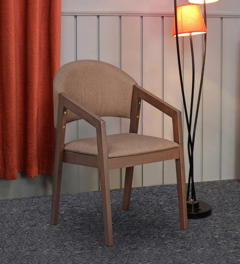 Buy Carleson Solid Wood Arm Chair In Brown Colour By Home Online