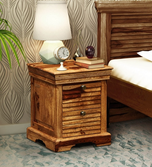 Carleson Solid Wood Bedside Chest In Rustic Teak Finish By Amberville