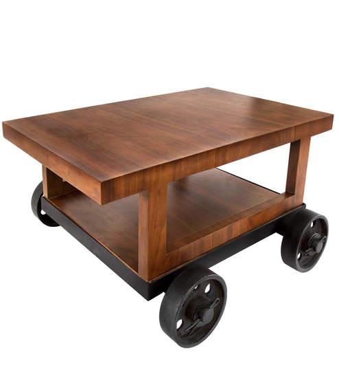 Trolley Coffee Table.Cart Wheel Coffee Table Cum Bar Trolley In Teak Wood Finish By Arsya Designs