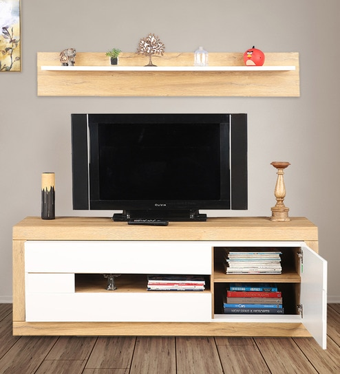 brand new e1ce2 42d79 Cartier TV Unit with Shelf in White High Gloss & Oak Finish by HomeTown