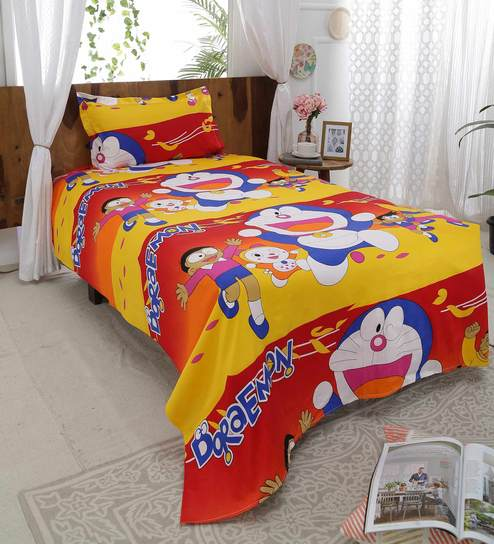 Cartoon Kids Bedsheets 215 TC Satin Single Size Bedsheet With One Pillow  Cover By Home Proud