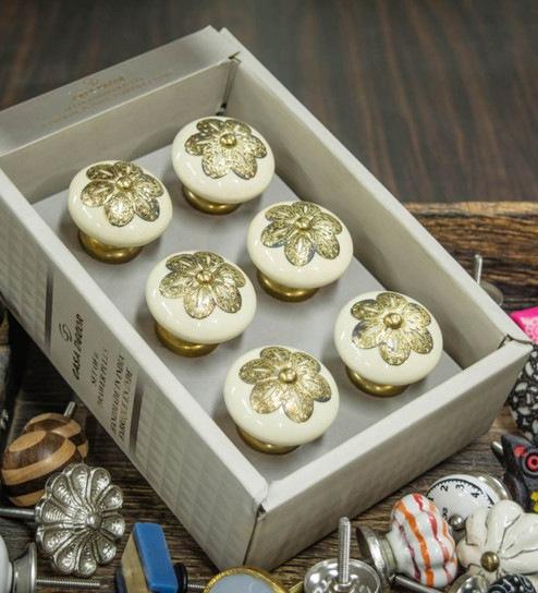 Buy Casa Decor Filigree Ceramic 2 5 X 1 5 X 1 5 Inch Door Knobs