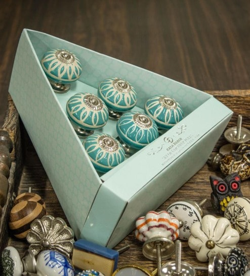Buy Casa Decor Jodhpurian Ceramic 2 5 X 1 5 X 1 5 Inch Door Knobs