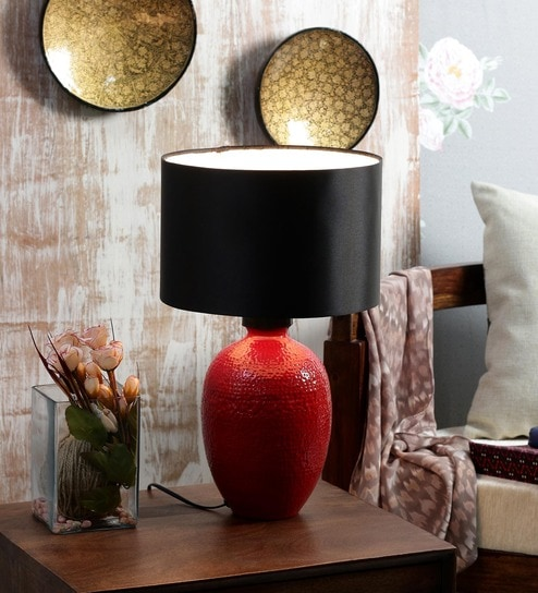 Buy scafati table lamp in black by casacraft online contemporary courtyard golf table lamp in red with black shade aloadofball Gallery