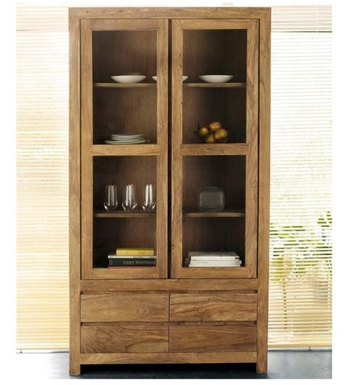 Cassia Crockery Cabinet With Glass Doors By Mudramark Online