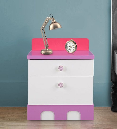 Buy Castle Highgloss Bedside Table In Pink Colour By Hometown Online