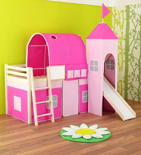 Buy Castle Loft Bed In Pink Colour By Alex Daisy Online Bunk Beds