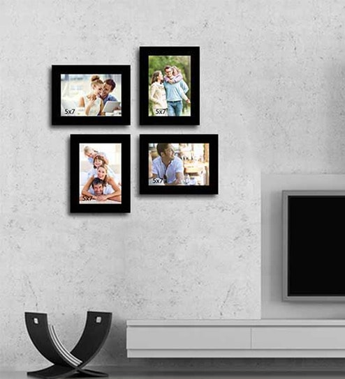 Black Synthetic Wood wall photo frame set of 4 By Art Street