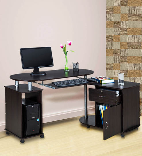 Cathy Computer Table With Pedestal On Wheels In Black Colour By Royal Oak