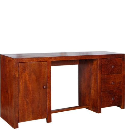 Cayenne Solid Wood Study Table In Honey Oak Finish By Woodsworth
