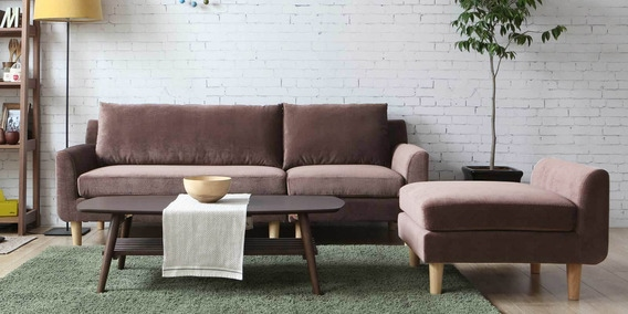 Calgary Three Seater Sofa With Lounger In Brown Colour By Casacraft