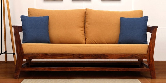 Fabulous Canvas 3 Seater Sofa In Mustard Colour By Peachtree Machost Co Dining Chair Design Ideas Machostcouk