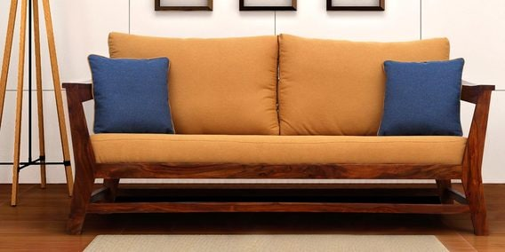 Canvas Three Seater Sofa With Cushions In Mustard Colour By Peachtree
