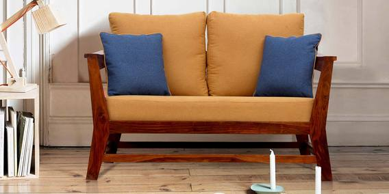 Buy Canvas Two Seater Sofa With Cushions In Mustard Colour