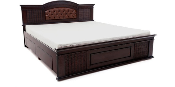 capsule king size bed with storage in brown colour by looking good furniture - King Size Bed With Storage