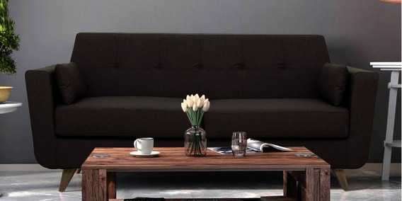 Castello Three Seater Sofa in Chocolate Brown Colour by CasaCraft