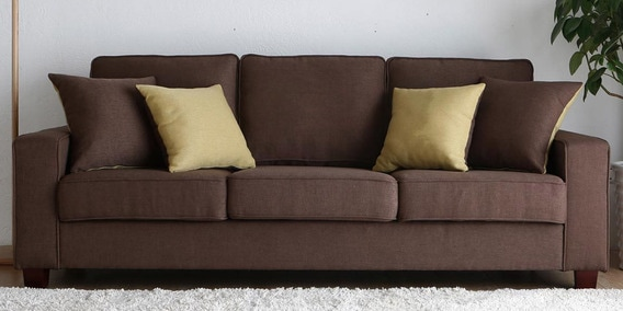 Castilla Three Seater Sofa in Brown Colour by CasaCraft
