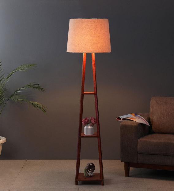 Beige Fabric Shade Floor Lamp With, Brown Floor Lamp