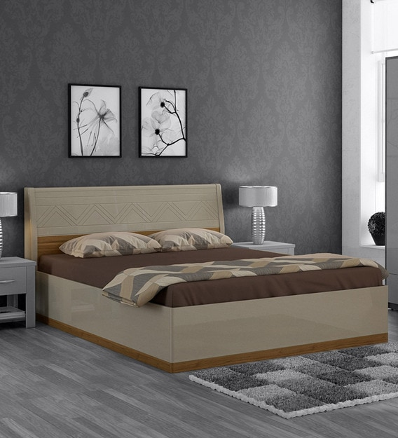 Buy Catalina Queen Size Bed With Storage In Natural Teak Wood Finish By Casacraft Online Contemporary Queen Size Beds Beds Furniture Pepperfry Product