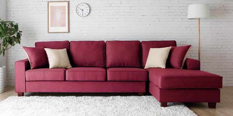 Castilla LHS Three Seater Sofa with Lounger and Throw Cushions in Red Colour by CasaCraft