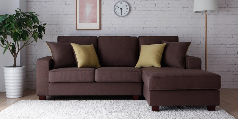 Castilla LHS Two Seater Sofa with Lounger and Throw Cushions in Brown Colour by CasaCraft