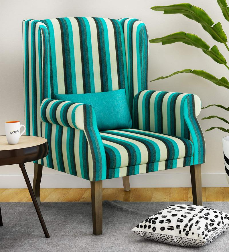 Buy Calisto Wing Chair In Blue Stripes Colour By Casacraft