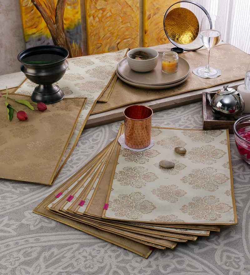 Cannigo Beige & Cream Fibre Placemats with Runners - Set of 10