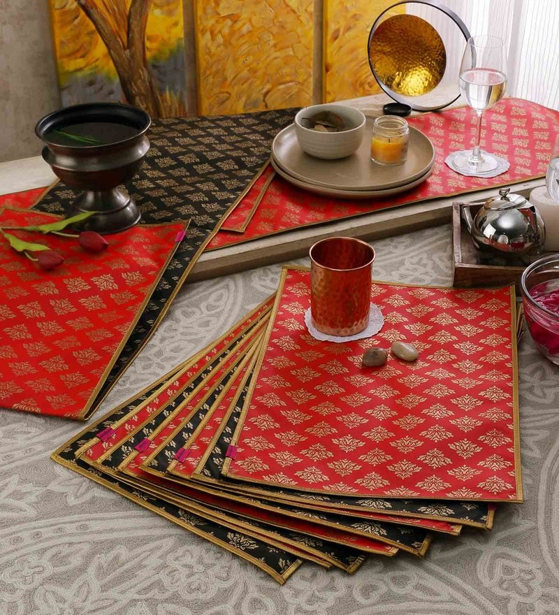 Cannigo Black & Red Fibre Placemats with Runners - Set of 10