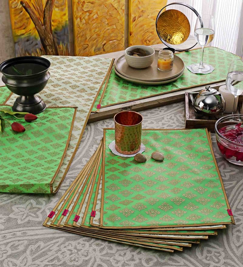 Cannigo Cream & Green Fibre Placemats with Runners - Set of 10