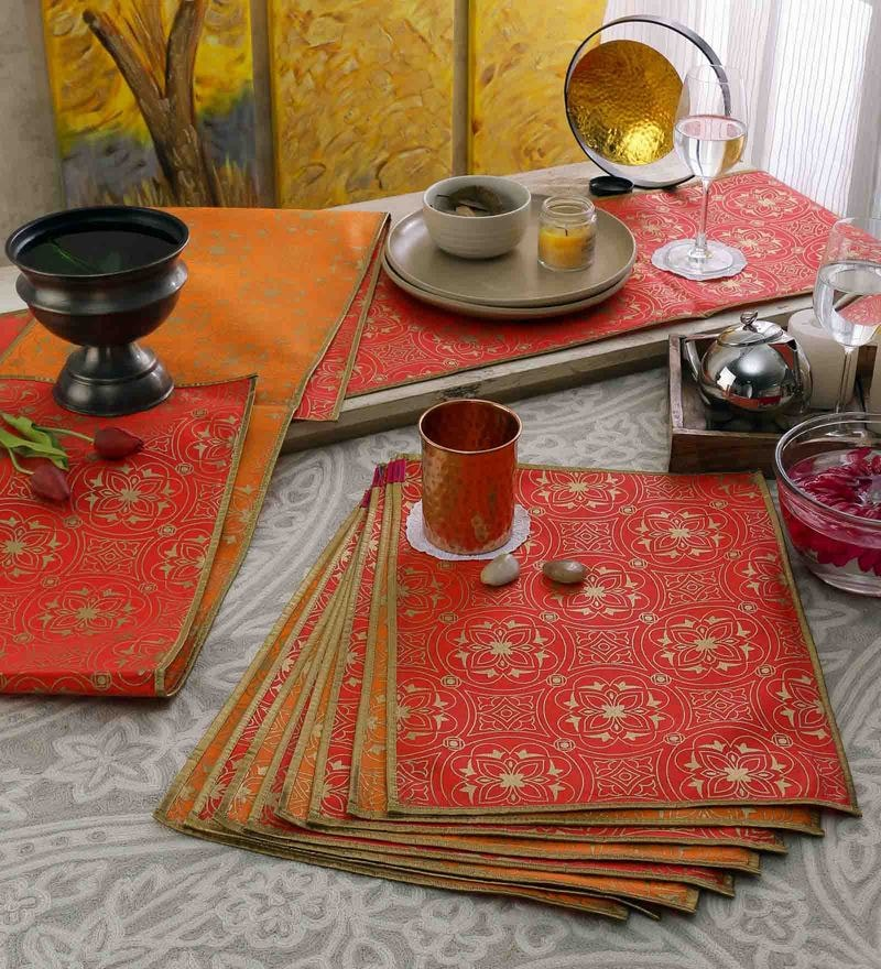 Cannigo Red & Orange Fibre Placemats with Runners - Set of 10