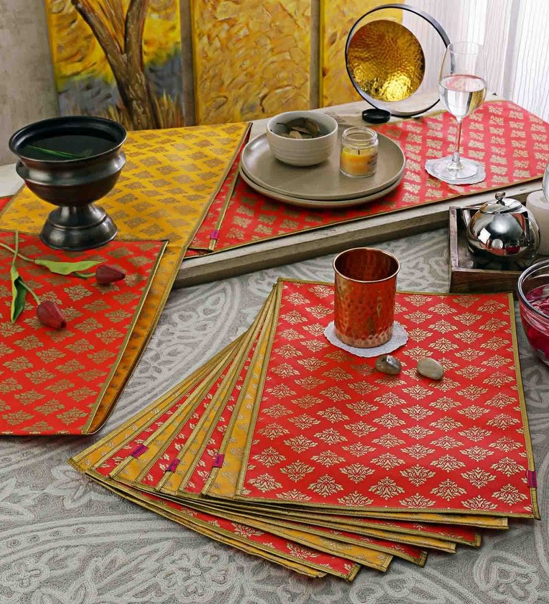 Cannigo Red & Yellow Fibre Placemats with Runners - Set of 10