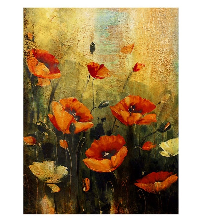 Canvas 18 x 0.2 x 24 Inch Playing Flower Unframed Handpainted Art Painting by Fizdi Art Store
