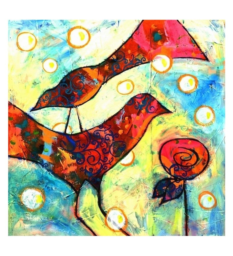 Canvas 24 x 0.2 x 24 Inch Birds with Rose Unframed Handpainted Art Painting by Fizdi Art Store