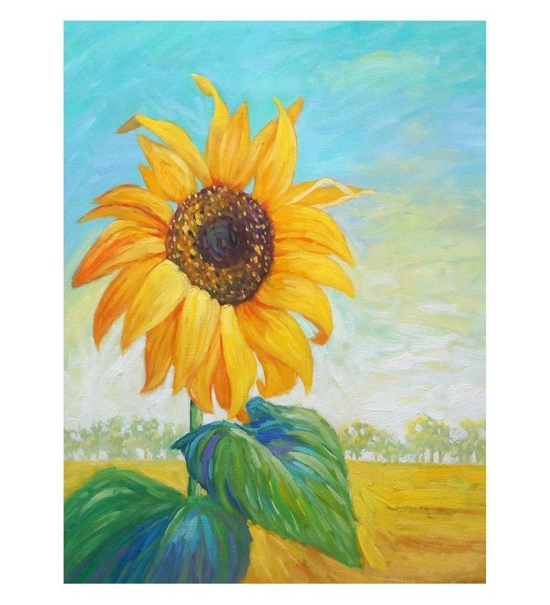 Canvas 24 x 0.2 x 36 Inch Sunflower Series Unframed Handpainted Art Painting by Fizdi Art Store
