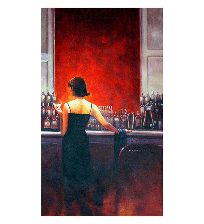Canvas 24 x 0.2 x 42 Inch The Absolute Wait Unframed Handpainted Art Painting by Fizdi Art Store