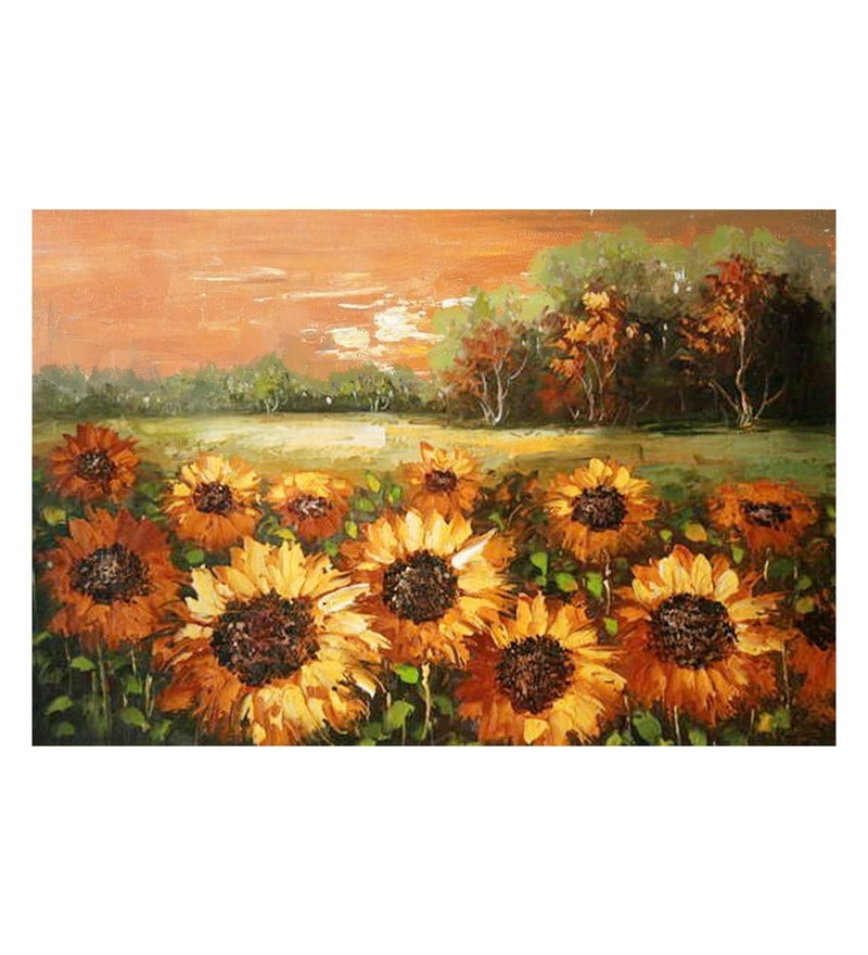 Canvas 30 x 0.2 x 20 Inch Sunflowers Unframed Handpainted Art Painting by Fizdi Art Store