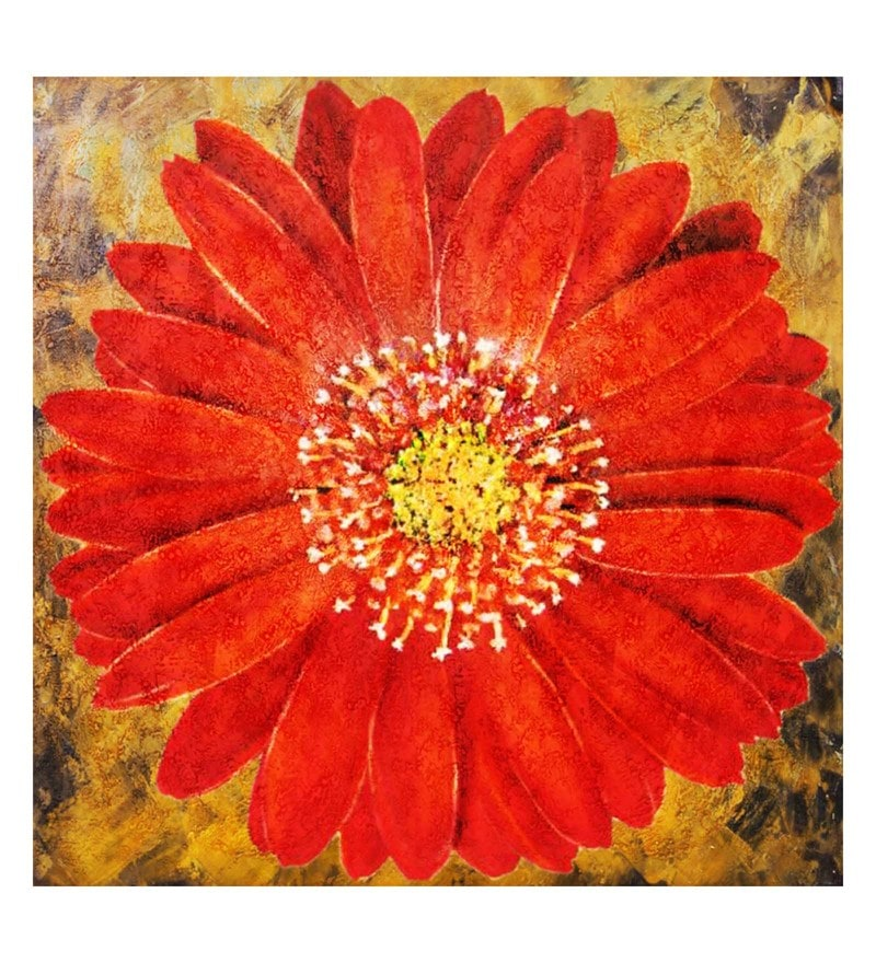 Canvas 32 x 0.2 x 32 Inch Beauty of Red Flower Unframed Handpainted Art Painting by Fizdi Art Store