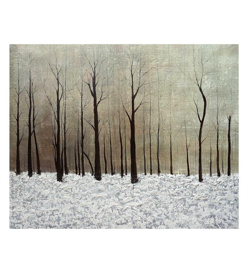 Canvas 32 x 0.2 x 32 Inch Like a Desert Unframed Handpainted Art Painting by Fizdi Art Store