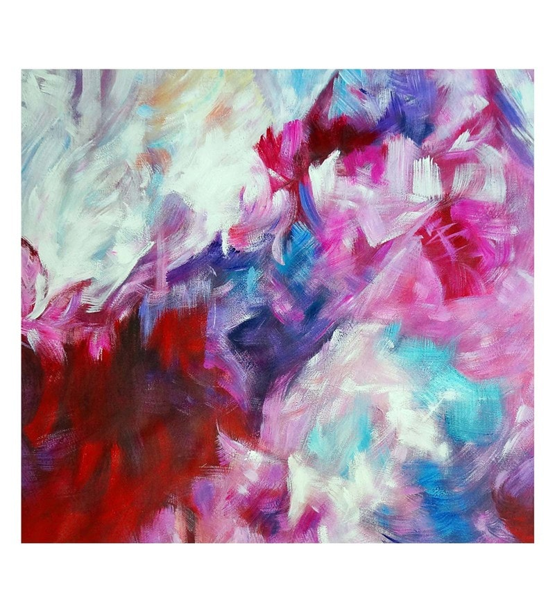 Canvas 32 x 0.2 x 32 Inch Roseate Joy Unframed Handpainted Art Painting by Fizdi Art Store