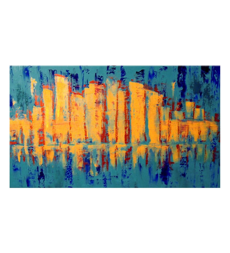 Canvas 36 x 0.2 x 24 Inch Landscape Unframed Handpainted Art Painting by Fizdi Art Store