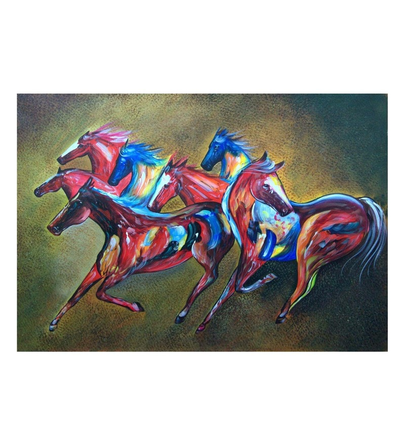 Canvas 36 x 0.2 x 24 Inch Puissance Unframed Handpainted Art Painting by Fizdi Art Store