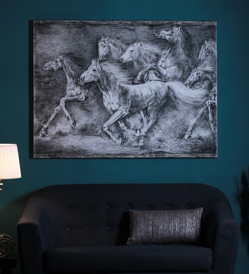 Canvas 60 x 2 x 48 Inch 7 White Horses Stretched Painting by Manomay Kreations