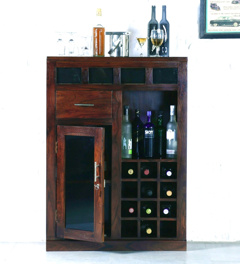 Rosendale Tall Bar Cabinet in Provincial Teak Finish by Woodsworth