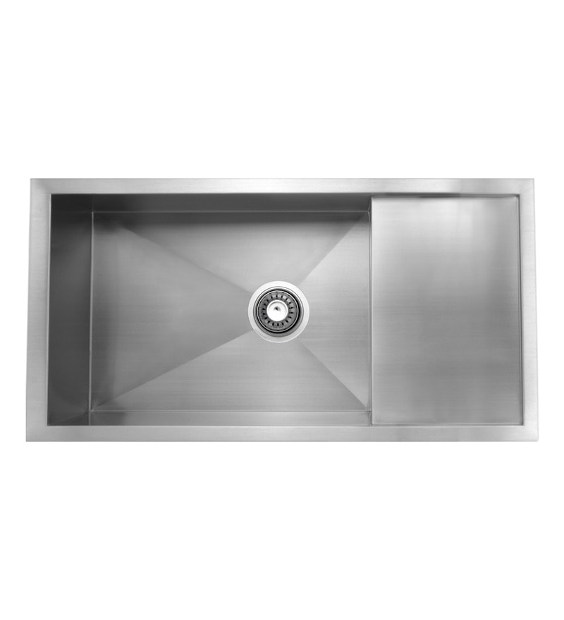 Carysil Quadro Stainless Steel Single Bowl Kitchen Sink with Drainer - 36x18x9