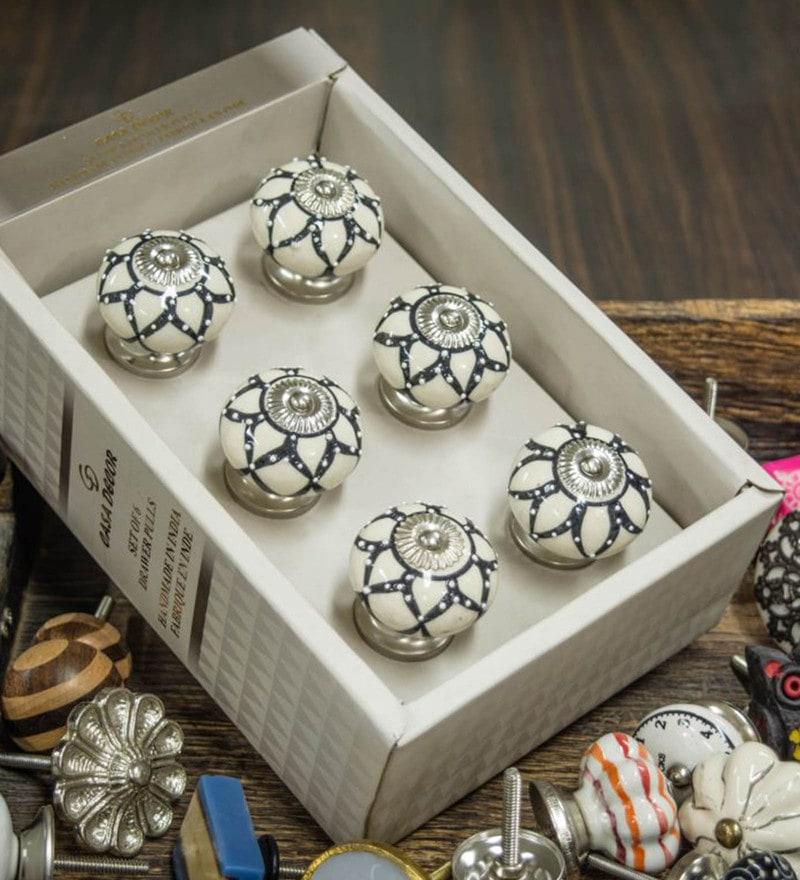 Casa Decor Rajasthani Ceramic 2.5 x 1.5 x 1.5 Inch Door Knobs - Set of 6