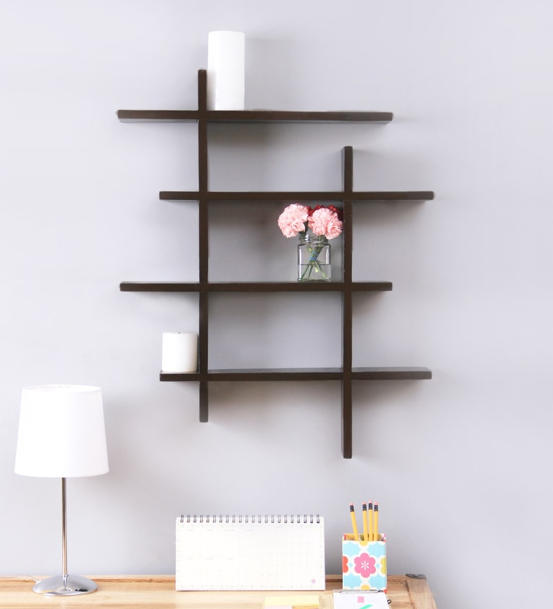 Buy Casacraft Monza Petro Black Mango Wood Wall Shelf Online